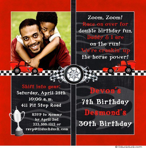 Race Car Birthday Party Invitation Wording