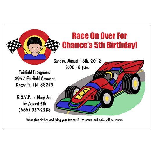 Race Car Invitation Wording