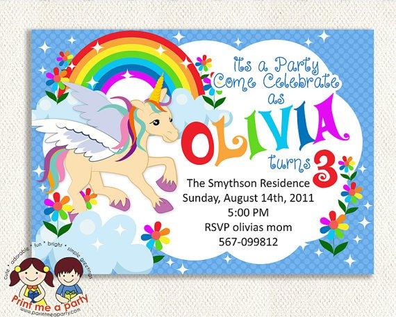 Rainbow And Unicorn Party Invitations