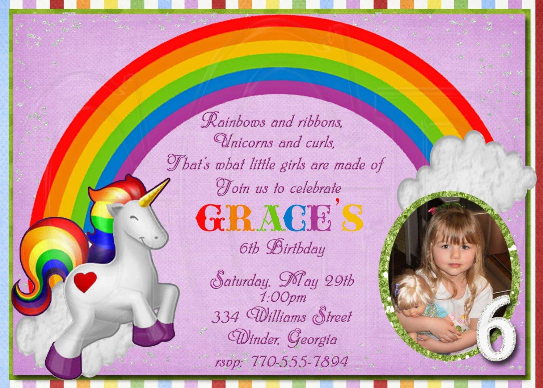 Rainbow Birthday Party Invitation Wording 1500 X 1071