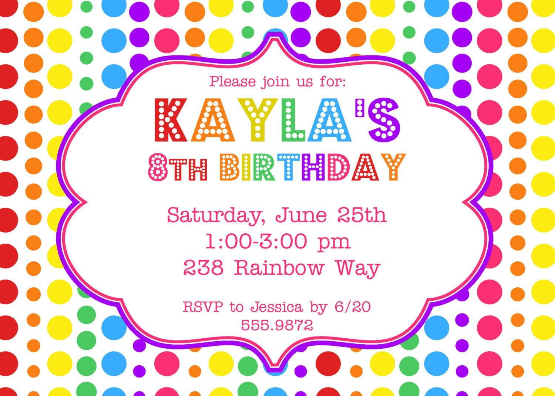 Rainbow Birthday Party Invitations Template