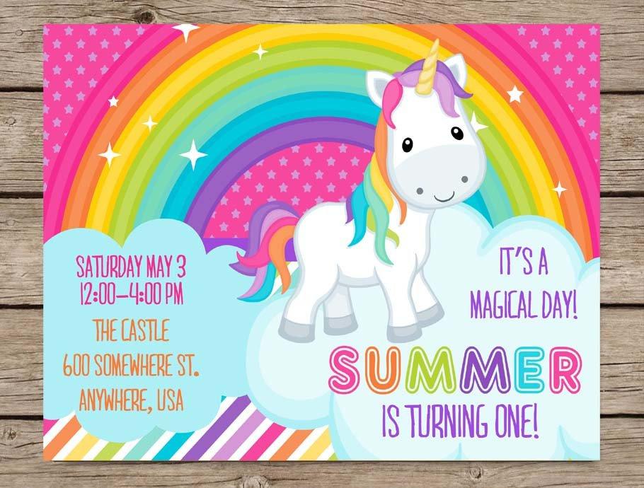 Rainbow Unicorn Invitations