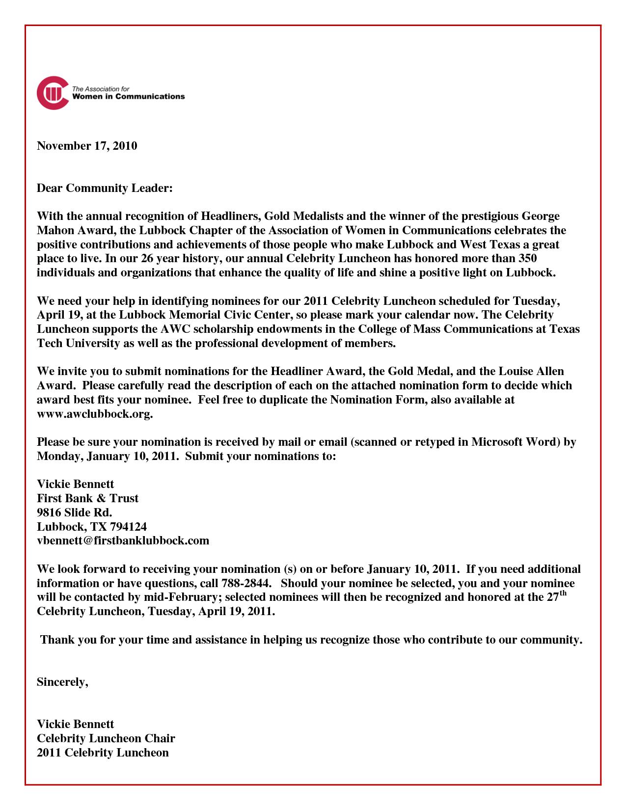 Honoree Letter Sample