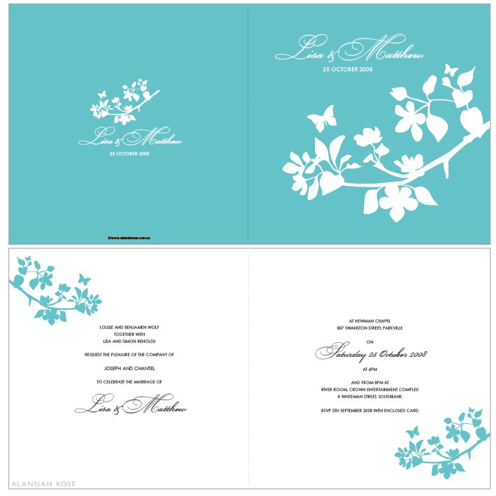 Red And Aqua Blue Wedding Invitations