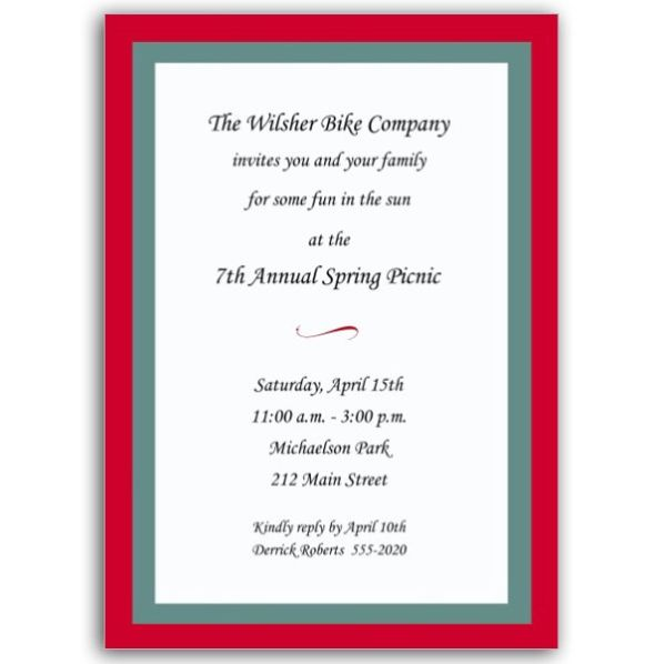 Red And Aqua Wedding Invitations