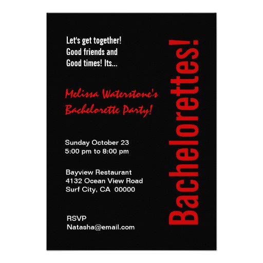 Red And Black Bachelorette Invitations
