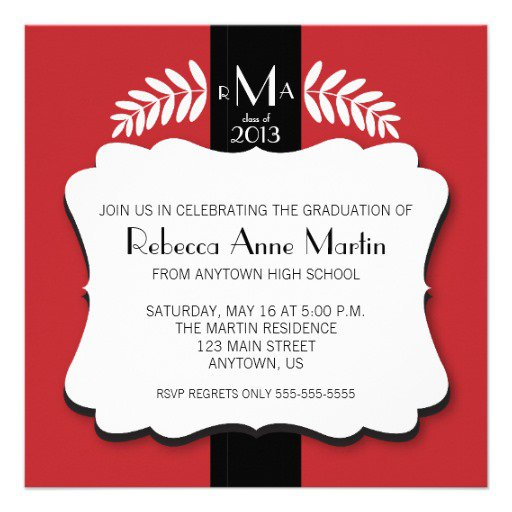 Red And Black Graduation Announcements