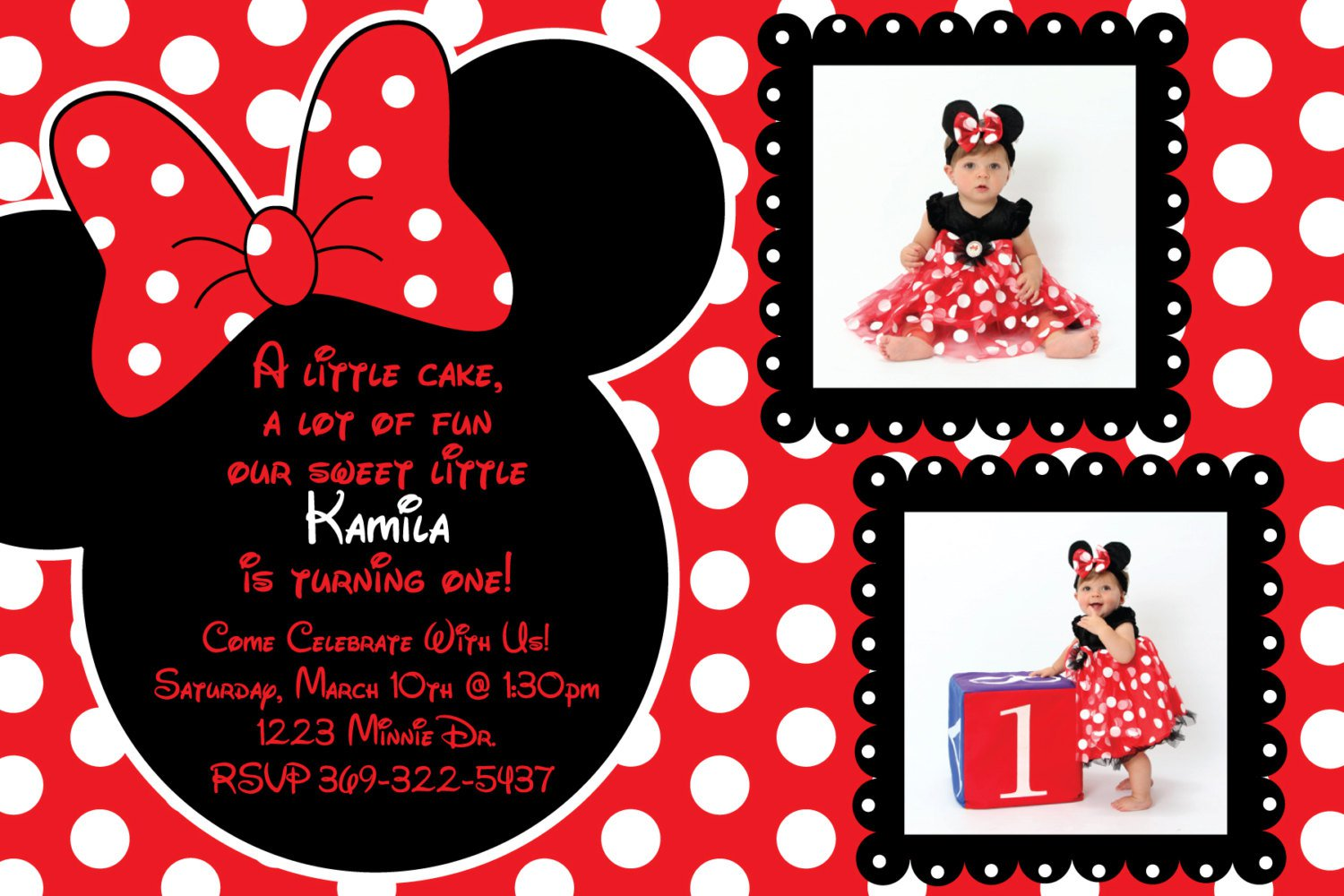 Red And Black Minnie Mouse Invitations Templates Free