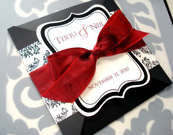 Red And Black Wedding Invitations Cheap