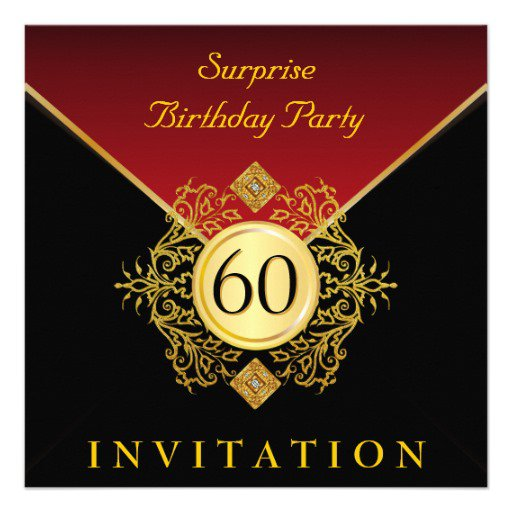 Red And Gold 50th Birthday Invitations