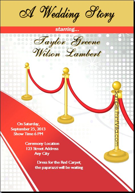 red carpet invitations templates