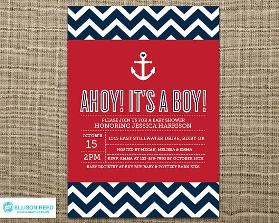 Red Chevron Invitations Templates