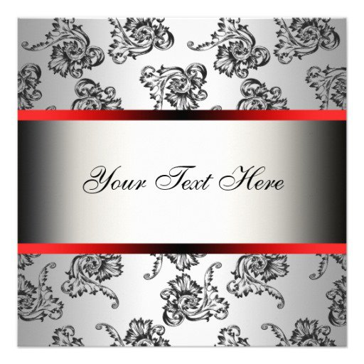 Red Damask Invitation Template