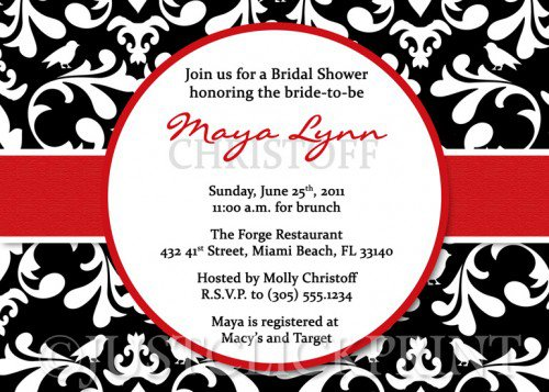 Red Damask Invitations