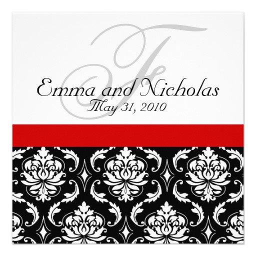 Red Damask Wedding Invitations