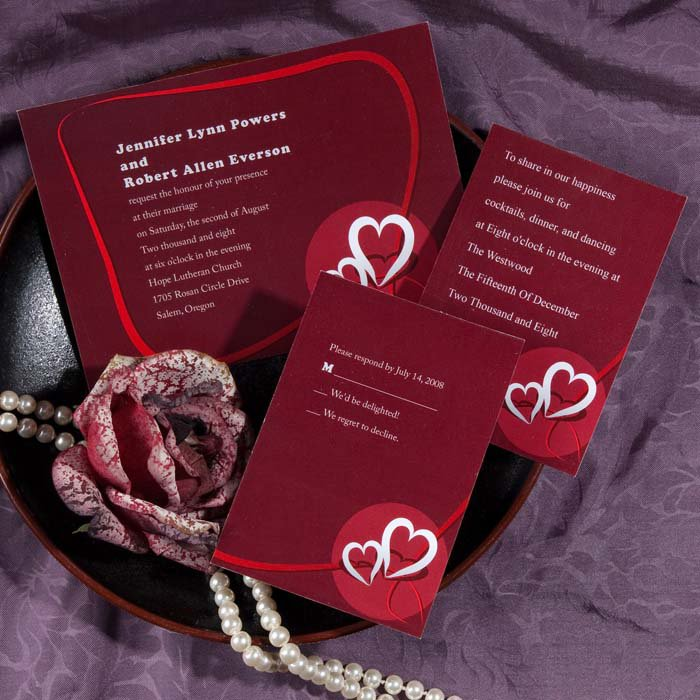 Red Double Heart Wedding Invitations