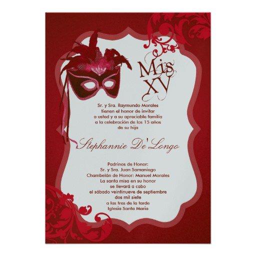 Red Masquerade Quinceanera Invitations