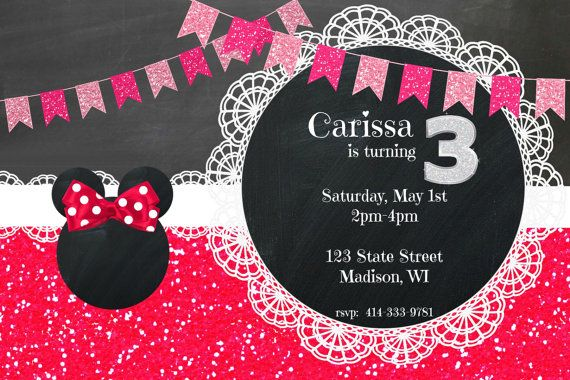 Red Minnie Mouse Invitations Etsy