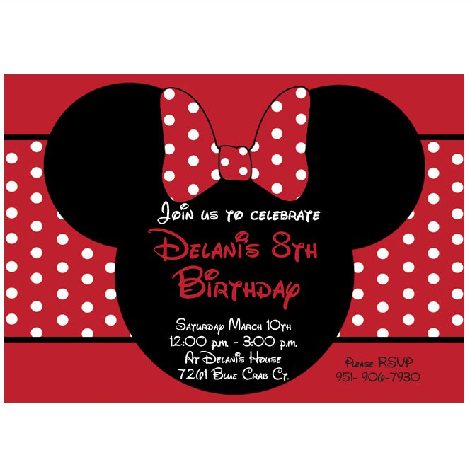 Red Minnie Mouse Printable Invitations