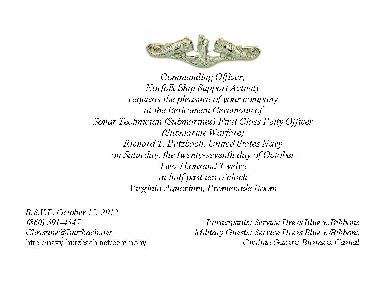 Retirement Ceremony Invitation
