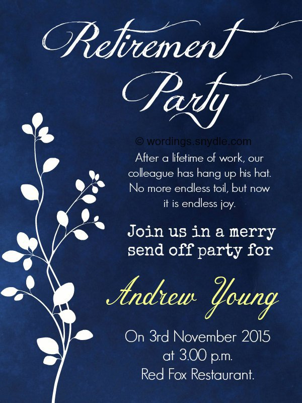 retirement dinner invitation wording
