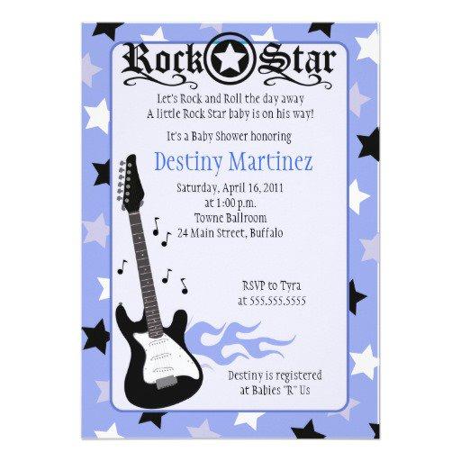 Rock Star Baby Shower Invitation Wording