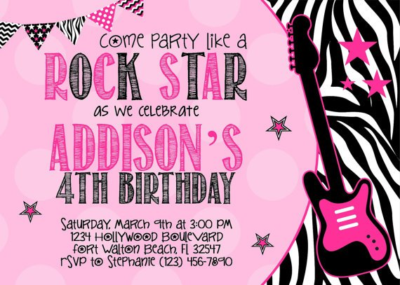 Rock Star Birthday Invitation Templates