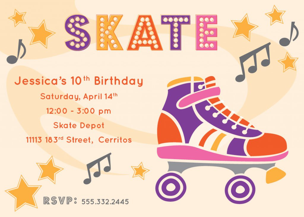 Roller Skating Invitations Free Printable