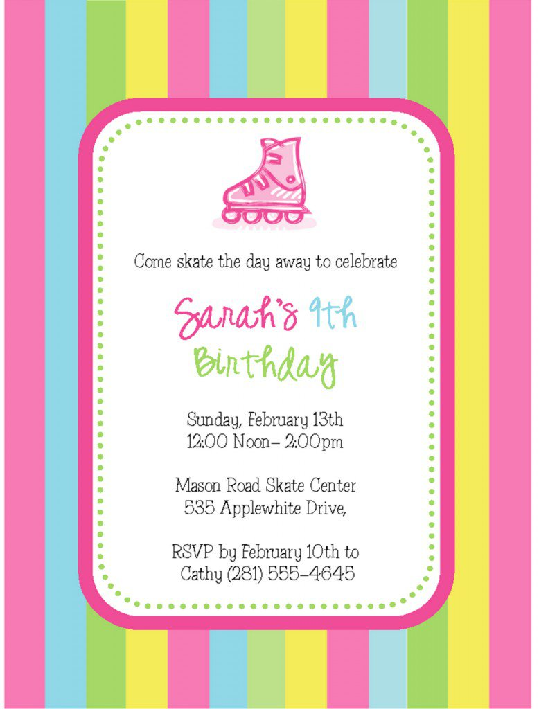 Roller Skating Party Invitation Templates