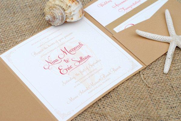 Romantic Shell Wedding Invitation