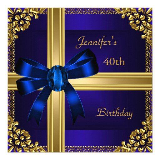 Royal Blue Birthday Invitations