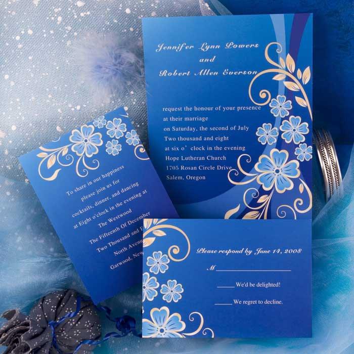Royal Blue Damask Wedding Invitations