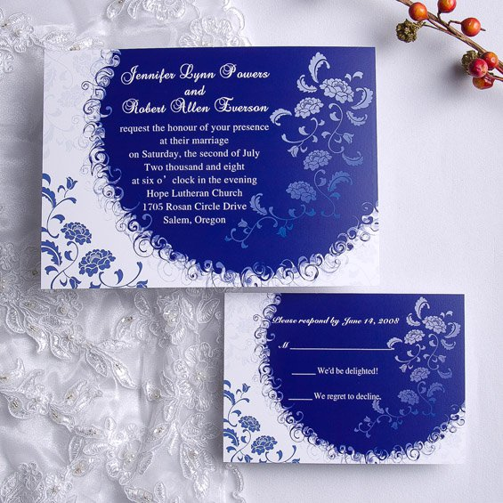 Royal Blue Silver And White Wedding Invitations