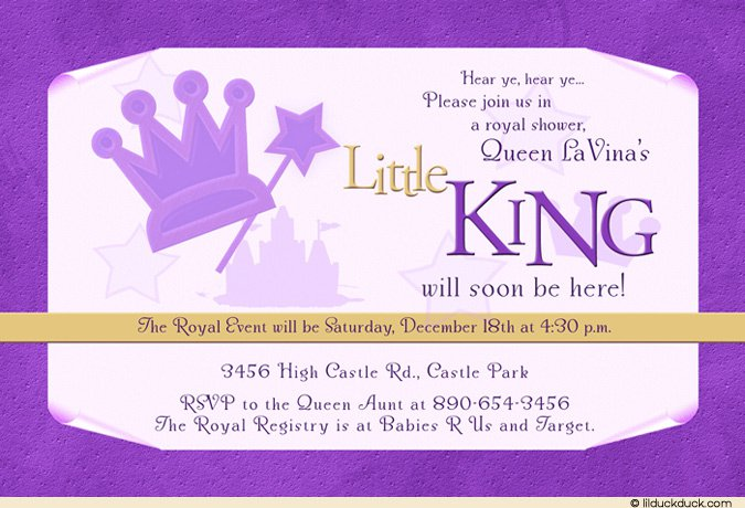 Royal King Baby Shower Invitations