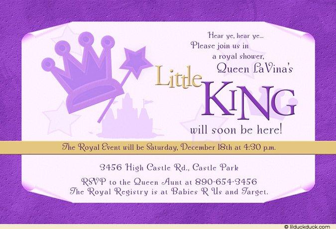 Royal King Baby Shower Invitations