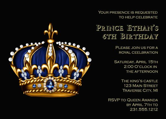 Royal King Birthday Invitations