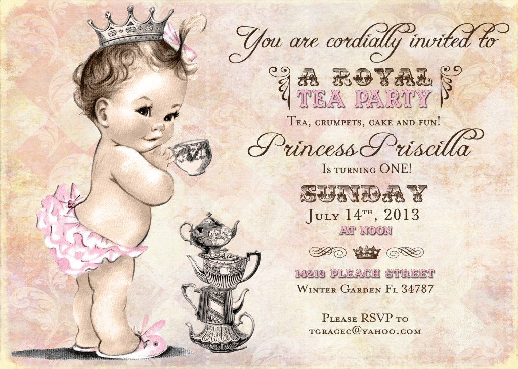 Princess Tea Party Invitations – Tea Birthday Party Invitations