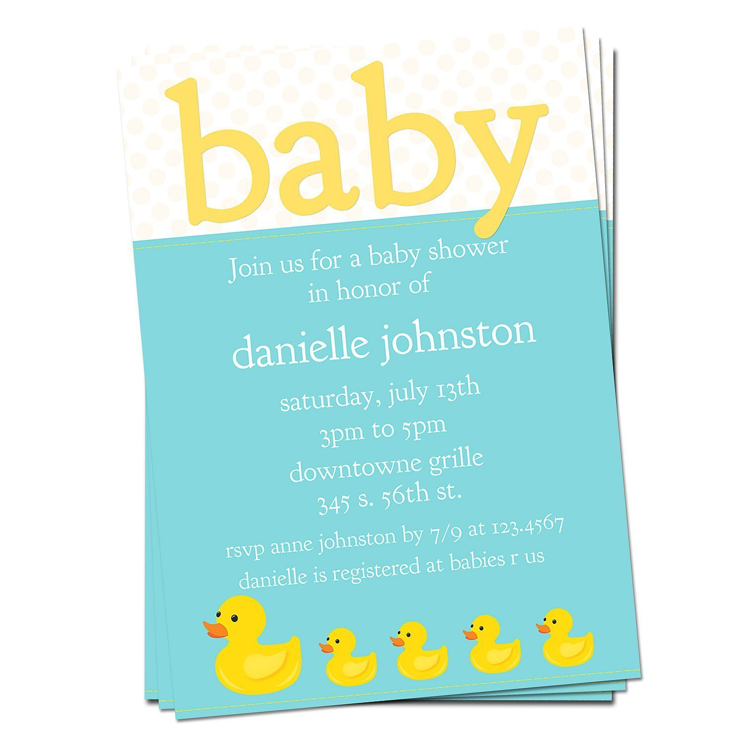 Duck shower invitations rubber duck shower invitations 1500 x 1500 stopboris Image collections