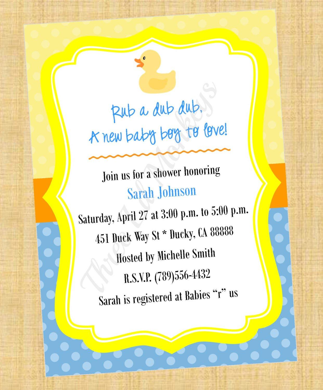 Rubber Ducky Invitation Templates