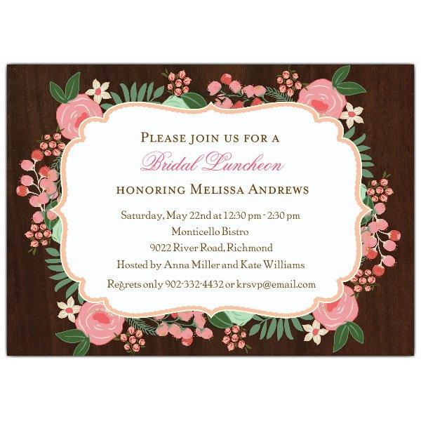Rustic Bridal Luncheon Invitations