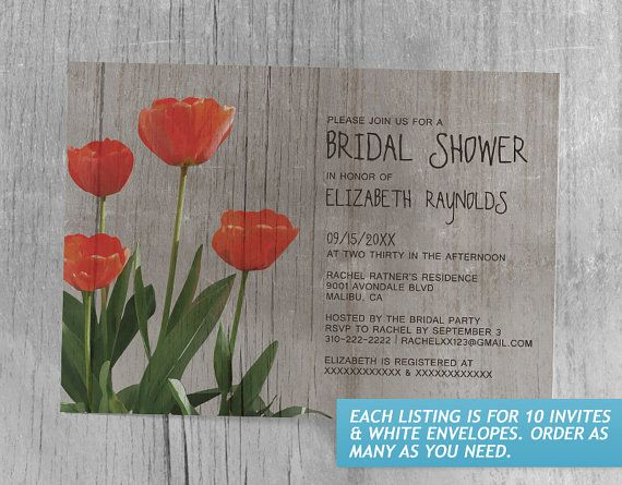 Rustic Bridal Shower Invitations Etsy