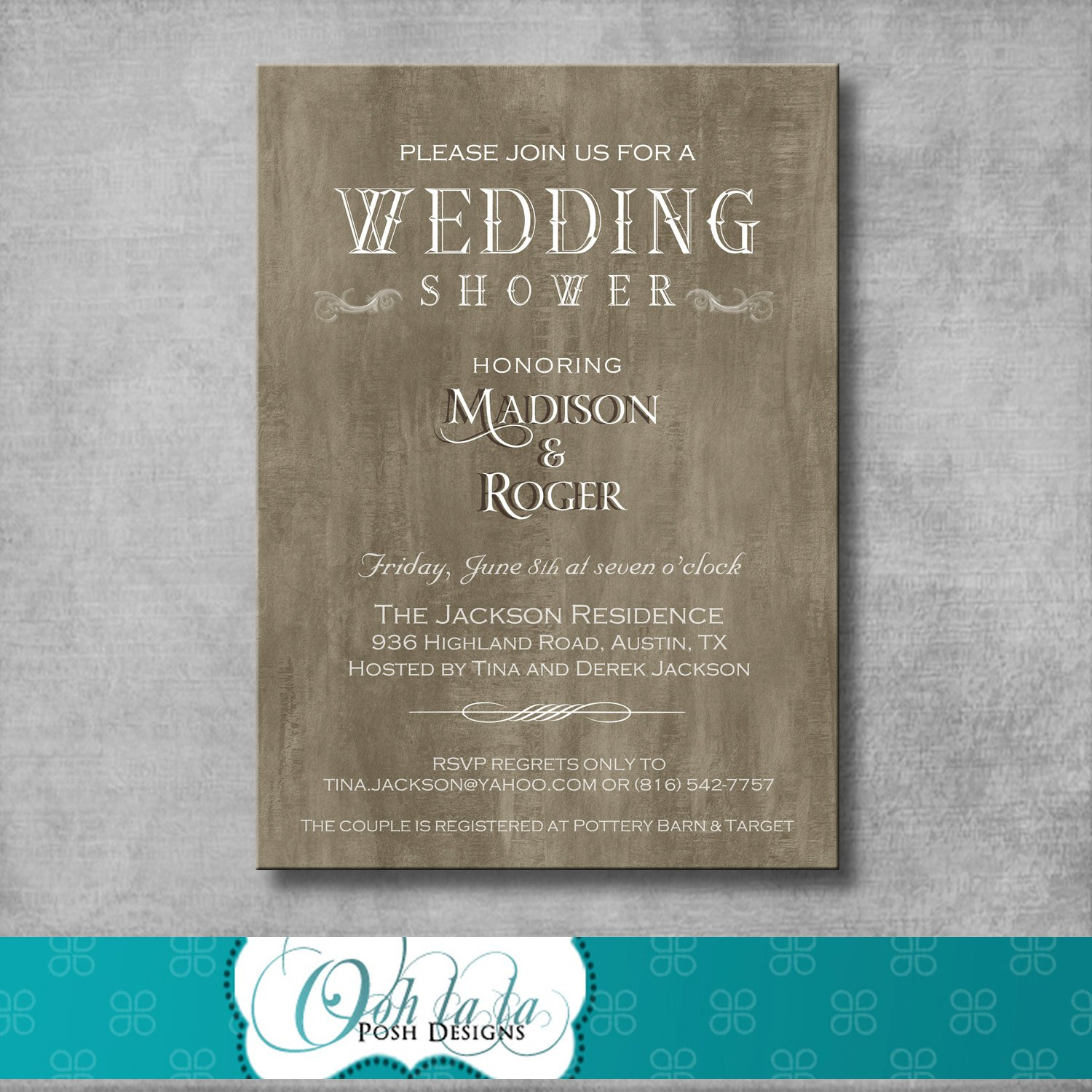 Rustic Country Wedding Shower Invitations
