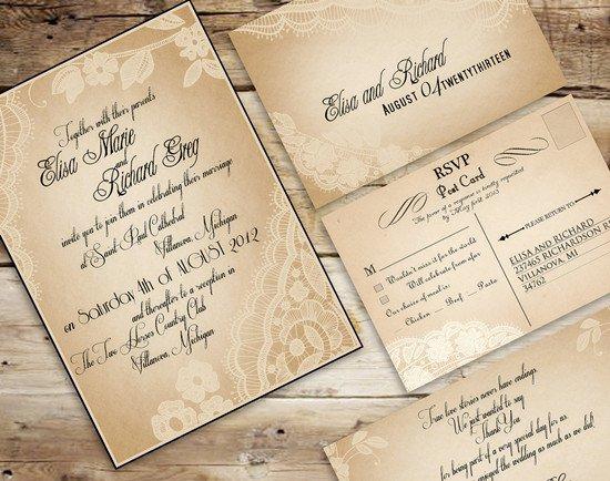 Rustic Wedding Invitation Sets Australia