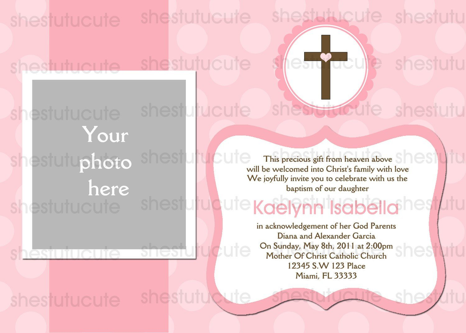 Sample Invitation Card For Baptism