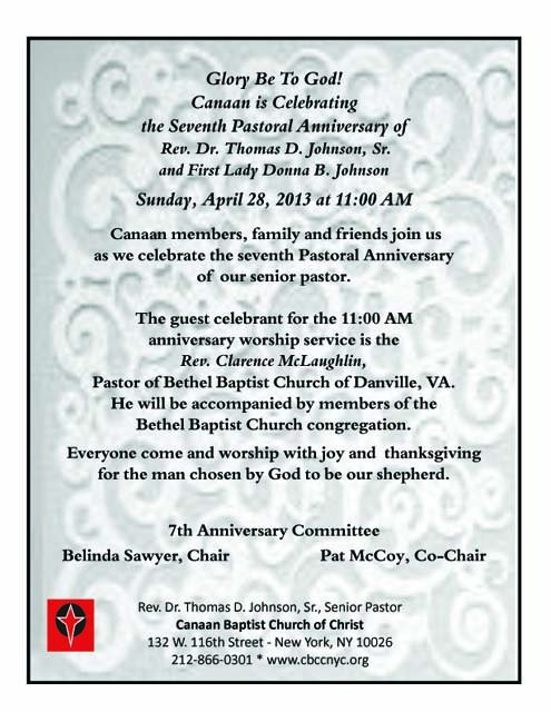 Sample Invitation To Pastors Anniversary