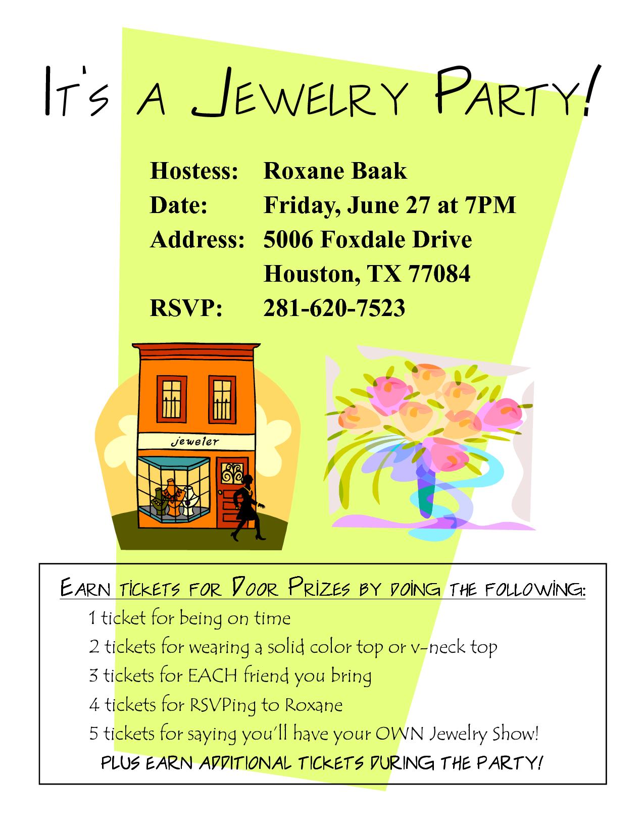 Sample Jewelry Party Invitation