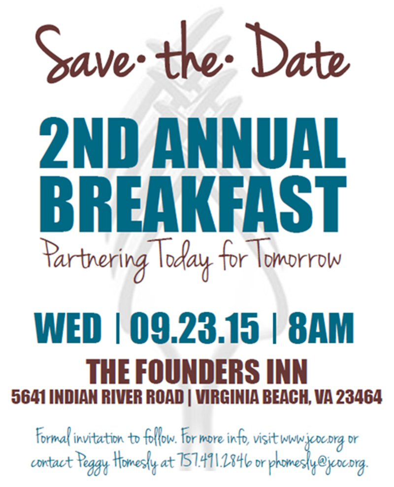 Save The Date Volunteer Breakfast