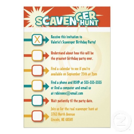 Scavenger Hunt Birthday Invitations