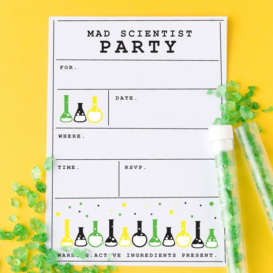 Science Party Invitation Blank Printable