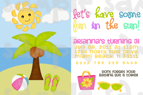 Party Invitations Homemade – Free Printable Beach Party Invitations